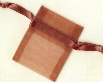 20 x ORGANZA SACHETS ❀ copper 5x6.25cm MAT0680 ❀