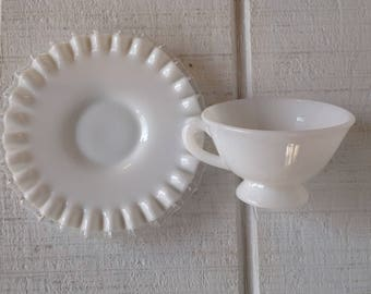 Vintage Fenton Silver Crest tea cup and saucer, White milk glass tea cup, Fenton milk glass tea set crimped edge, Replacements, collectible