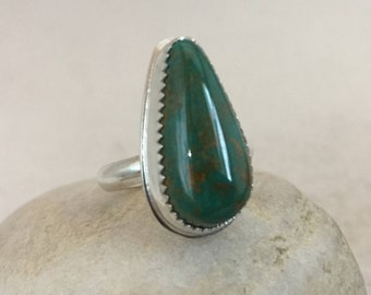 Turquoise Ring, Size 5, Sterling Silver, Kingman, December Birthstone, Rustic, Boho, Gypsy, Earthy, Ask me to resize to 5 1/2