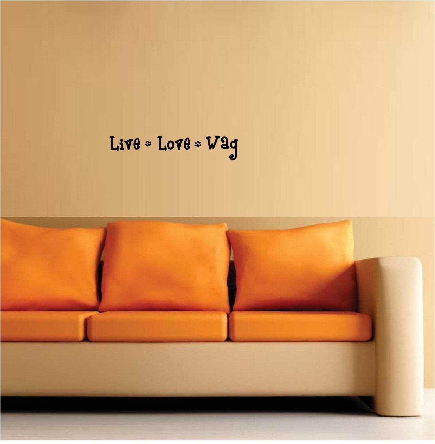 Live love wag paw prints wall art wall sayings vinyl letters