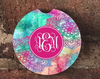 Custom Mandala Monogrammed  SandStone Car Coasters (set of 2),Personalized Car Coaster, Monogram Car Coaster, Gift Ideas (set of 2)