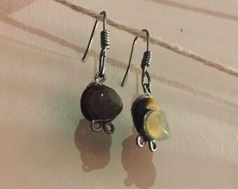 Tiger eye and clear quartz dangle earrings
