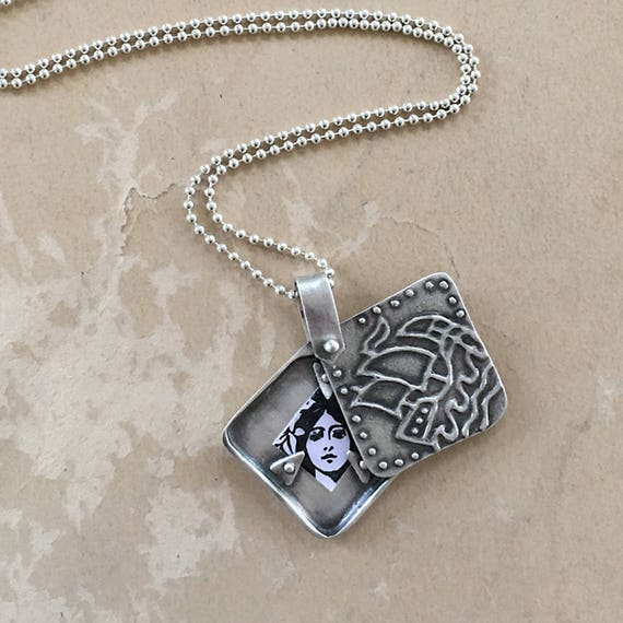 Silver Locket Necklace, Unique Lockets, Viking Ship Pendant, Nautical Jewelry