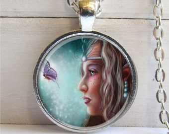 Fairy Pendant, Fairy Necklace, Butterfly Fairy, Silver and Glass Charm, Fantasy Jewelry