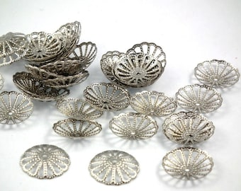 X 25 PCs cups ♥ antique silver 13mm ♥