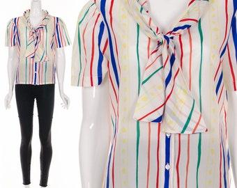 70's RAINBOW Fruit Stripe Ascot Blouse Pussy Bow Button Up Blouse Medium