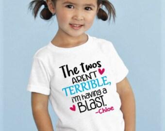Terrible Two's Shirt, Unisex Toddler Birthday Shirt, Fun Kids Tee