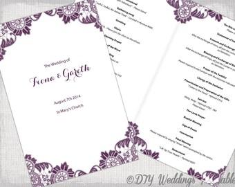 Wedding program template Catholic Printable silver gray