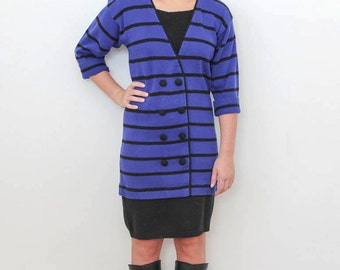 Vintage 1980s Periwinkle Blue/Black Striped Sweater Dress Mod Graphic Lines One Piece Dressing