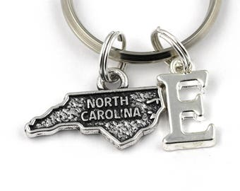 North carolina gift etsy north carolina key ring personalized state keychain north carolina keyringinitial keychainlong distance relationshipnorth carolina gift negle Images