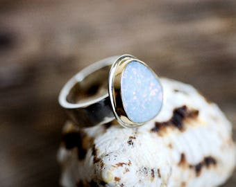 Opal Ring, 18K Gold and Sterling Silver, Australian Opal Ring, Opal Doublet Ring, Blue Gemstone, October Birthstone, Gifts for Her, Size 6.5