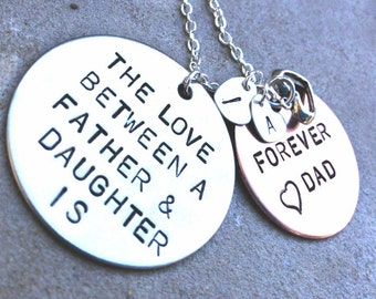 The Love Between A Father and Daughter is Forever, Daughter Gift, Father Daughter Necklace, Personalized from dad, Custom Father Daught