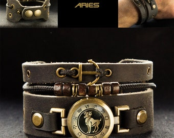 Beaded Leather Bracelet for Man with Aries Zodiac and Ship Anchor