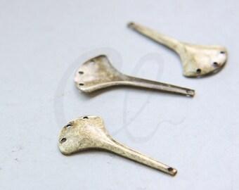2pcs Antique Brass Fan Shape Earring Components - 31x16mm (3022C-M-416)
