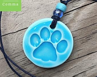 Ceramic paw print pendant, paw print necklace, paw print jewelry, pet lover gift, dog lover gift, glazed blue, porcelain paw print charm