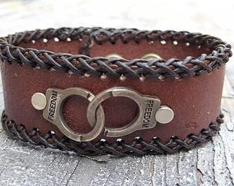 Steampunk Freedom Handcuff Leather Cuff Bracelet -Watch parts Vintage Bracelets-Wristband cuffs- Amazing Girlfriend Ladies friendship gift