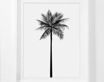 Palm Tree Print, Palm Leaves Print, Palm Tree Art, Palm Tree Wall Art, Printable Home Decor, Summer Art, Summer Print, Black and White Palm