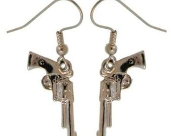 TOUGH GIRL Mini Pistol Gun Earrings - Handpainted