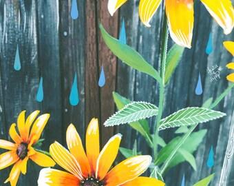 Black-Eyed Susan Art Print | Mixed Media Painting | Floral Photograph | Katie Daisy | 8x10 | 11x14