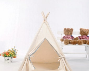 Natural Canvas Pet teepee Dog Tent  with padded mat