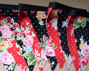 Wonderful Cottage Floral Picnic, Party,  Birthday, Playroom, Classroom Decorating 9 Bunting Flags- 8.5 Feet