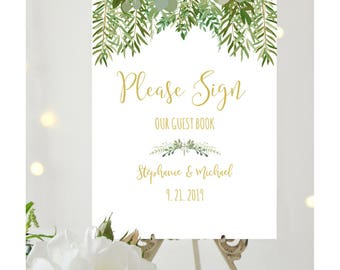 Rustic Wedding Guest Book Sign, Editable PDF Template, Greenery Wedding Printable, Please Sign Our Guest Book, Instant Download, IDWS604_26C