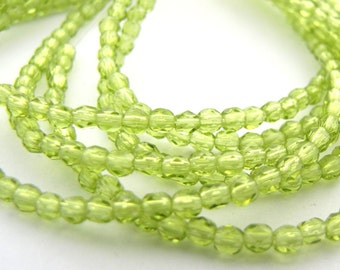 Olivine Green 2mm Facet Round Czech Glass Fire Polished Beads 50pc #2366
