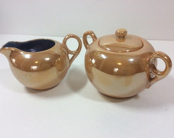 Vintage D R Peach Lusterware Creamer And Sugar Made in Japan