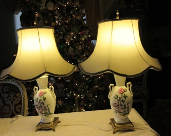 FRANCE LIMOGES LAMPS with Shades