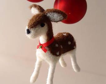 Deer, unique holiday ornament, wool felt woodland animal decor, homemade Christmas ornaments