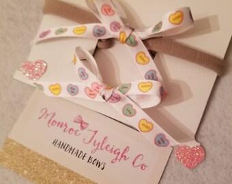 Conversation heart ribbon headband / clip