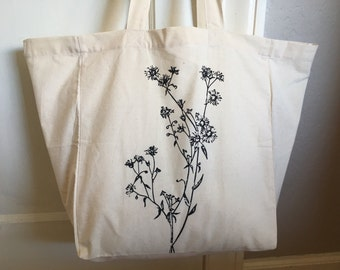Market Tote Bag - Wildflowers - Cotton Tote - Reusable Grocery Bag - Book Bag - Beach Bag