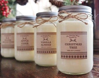 Winter Candle//Christmas Candle//Soy Candle//Choose Your Scent//16 oz Candle/Half Pint Mason Jar Candle//Gift Candle//Sweater Candle