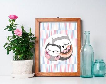 Owl Nursery Art - 8x10 Baby Girl Owl Nursery Decor, Nursery Wall Decor, Woodland Nursery Decor, Woodland Creature, Baby Owl