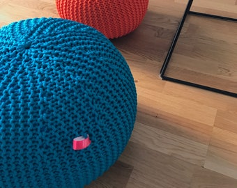 Pouf ottoman - Round ottoman - Outdoor pouf - Teal pouf - Outdoor pouf - Made in Italy - Kids Ottoman - Footstool - Floor pillow