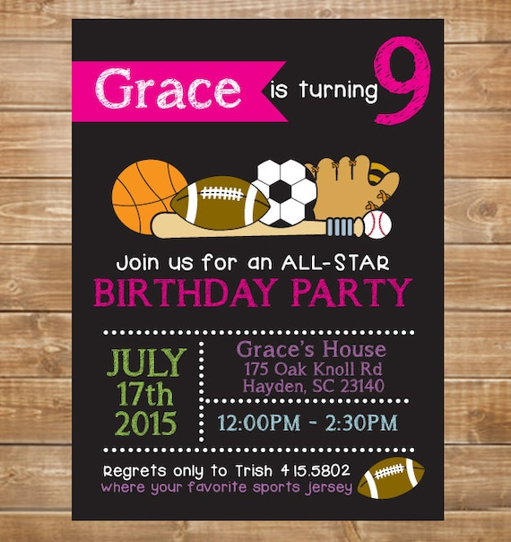 Girls printable sports birthday invitation all star sports filmwisefo Image collections