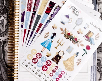 Be Our Guest Glossy Planner Sticker Kit, Planner Stickers, Weekly Sticker Kit, Planner Weekly Kit, Stickers Vertical Erin Condren 7 Sheets