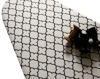 PADDED Tabletop 14 x 33 Ironing Board Cover Custom designer ironing board cover ELASTIC EDGES Evening Wallpaper black mosaic on white fabric