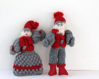 Vintage Crochet Santa and Mrs. Claus Ornaments, Vintage Hand-made Christmas Tree Ornaments, Vintage Crocheted Holiday Ornament