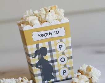"""Ready to Pop """"The Grayson"""" Yellow Grey Baby Shower Popcorn Favor Box (SET OF 10)"""