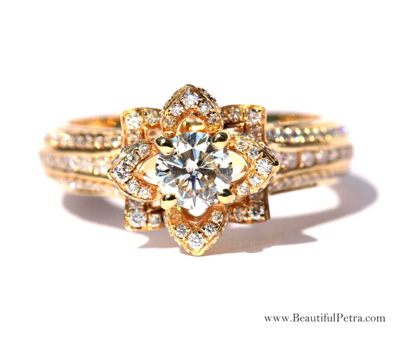 Unique flower rose diamond engagement or right hand ring zoom mightylinksfo