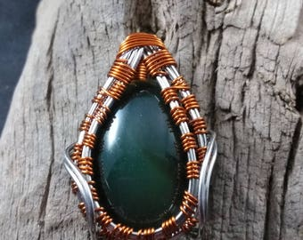 Jade Cabochon wrapped in Silver Coated Copper Wire