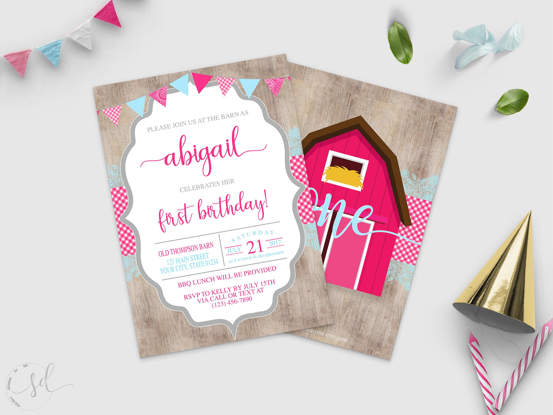 Rustic Girl Birthday Invitation Barn Barnyard Bash Invite