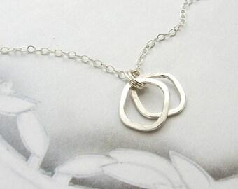 collier, Collier Pendentif géométrique minimal, le double ouvert carrés, cadeau bio simple collier tous les jours pour elle