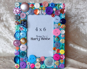 Funky Picture Frame/4x6 picture frame/Grape Picture Frame/Happy Picture Frame/Colorful Frame/Button Picture Frame/Silly Picture Frame