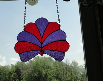 Red and Purple Fan stain glass