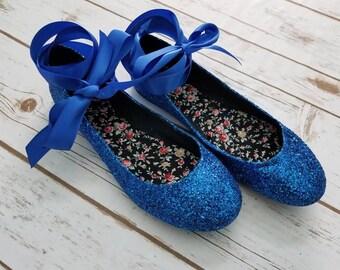 Glitter Ribbon Flat Shoes WOMANS