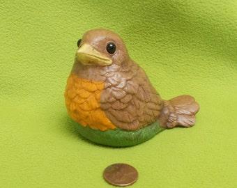 Robin Bird Figurine with eye inserts-painted ceramic bisque