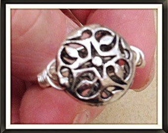 Ring Handmade by MWL Silver filigree bead and silver wire