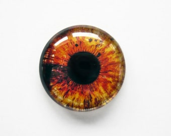 25mm handmade glass eye cabochon - orange eye - standard profile